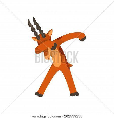 Mountain Goat Standing In Dub Dancing Pose, Cute Cartoon Animal Doing Dubbing Vector Illustration On