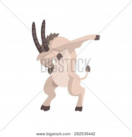 Goat Standing In Dub Dancing Pose, Cute Cartoon Animal Doing Dubbing Vector Illustration On A White