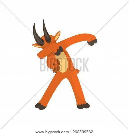 Brown Goat Standing In Dub Dancing Pose, Cute Cartoon Animal Doing Dubbing Vector Illustration On A