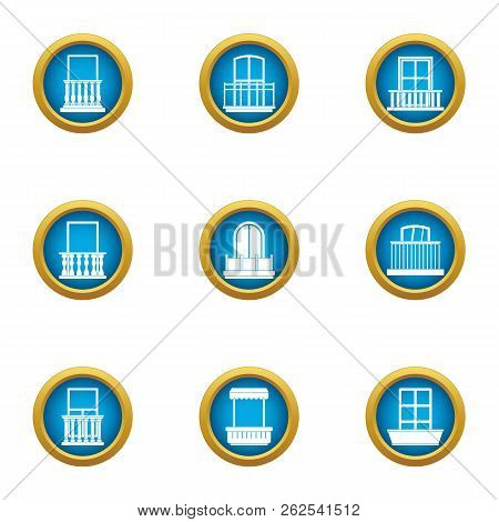 Glass Factory Icons Set. Flat Set Of 9 Glass Factory Vector Icons For Web Isolated On White Backgrou