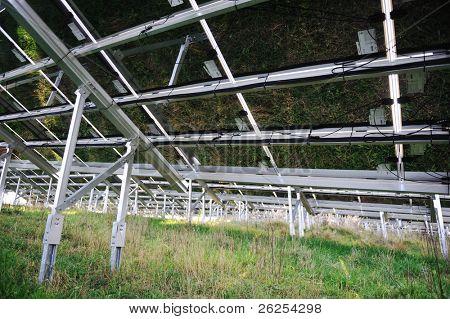 Alternative energy photovoltaic solar panels from back