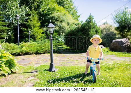 Toddler Boy Riding A Balance Bike (run Bike), Learning To Keep Balance On A Training Bicycle In The