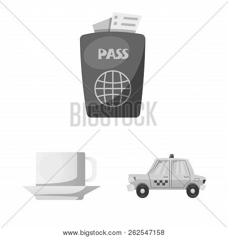 Vector Illustration Of Airport And Airplane Logo. Collection Of Airport And Plane Vector Icon For St