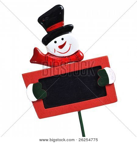 a blank snowman blackboard on a white background
