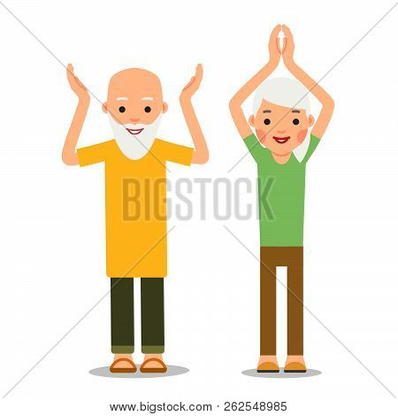 Old People Doing Exercises. Sport For Elderly Person. Elderly Man And Woman Doing Yoga Workout. Acti
