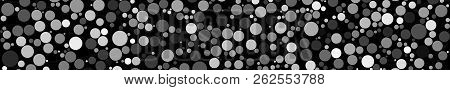 Abstract Horizontal Banner Of Circles Of Different Sizes In Shades Of Gray Colors On Black Backgroun