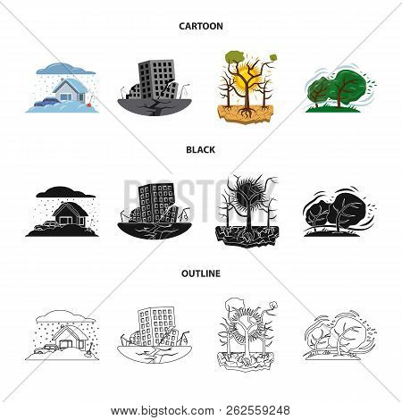 Vector Illustration Of Natural And Disaster Sign. Set Of Natural And Risk Stock Vector Illustration.