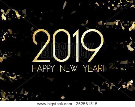 trendy 2019 happy new year card gold confetti foil texture gold glitter confetti sparkles