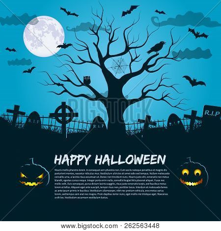 Happy Halloween Poster With Silhouette Of Dead Tree At Moon Night Sky Background And Place For Invit