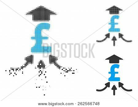 Pound Financial Aggregator Icon In Dissolved, Pixelated Halftone And Undamaged Whole Variants. Cells