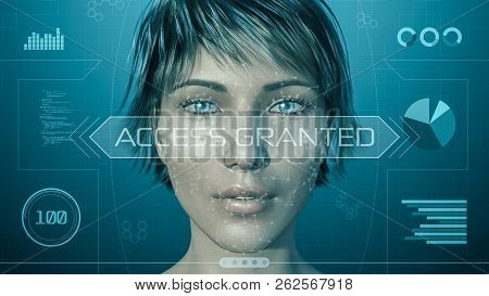 3d Model Of A Girl Face, With A Futuristic Software Interface For Facial Recognition (3d Render)