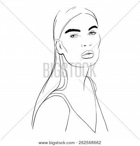 Beautiful Woman In Top, Blouse Hand Drawn Vector Illustration. Stylish Graphic Portrait With Beautif