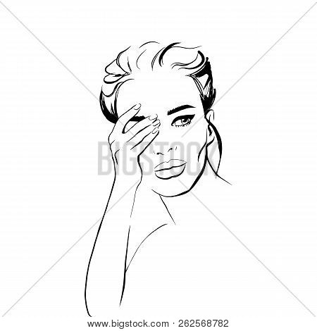 Beautiful Woman Closes Hand Face Vector Fashion Sketch. Young Girl Face Portrait Art. Trendy Model L