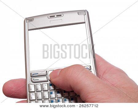 escribiendo en asistente personal digital con marco vacío aislado en blanco