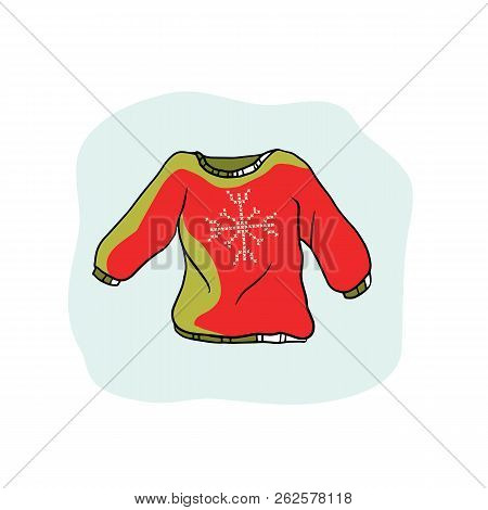 Nordic Christmas Jumper Vector Clipart. Hand Drawn Embroidered Ugly Sweater