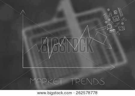 Market Trends Conceptual Illustration: Stats Graph With Sales Going Down And Parcel With Products On