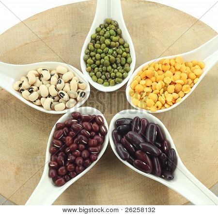Various Legumes With White Spoon