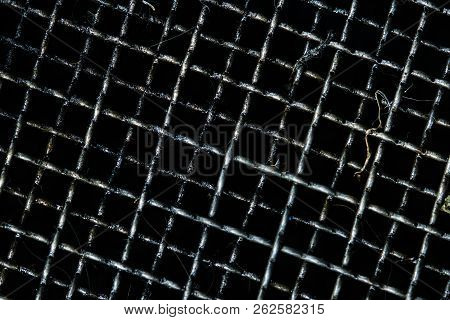 Dirty Grille For Filter And Collect Used Motor Oil In Car Or Motorcycle. Black Oil  Or Automotive Fl