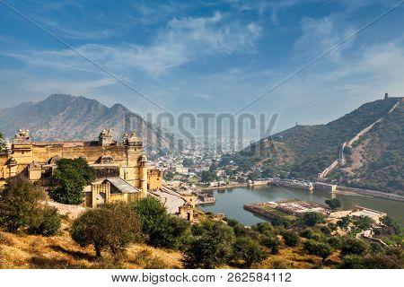 Indian travel famous tourist landmark - view of Amer (Amber) fort and Maota lake, Rajasthan, India