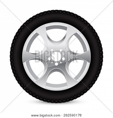 Alloy wheel with tyre. Vector 3d illustration isolated on white background poster
