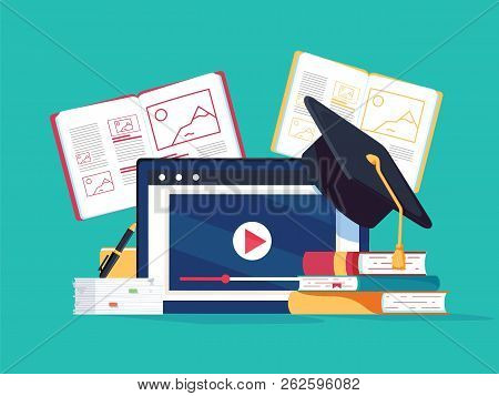 Online Tutoring Concept. E-books, Internet Courses Process. Vector Illustration. Computer Study With