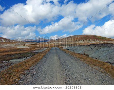 high mountain road to famous North Korea Paktusan mountain