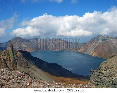 vulcanic lake on the top of legendary North Korea Paktusan mountain