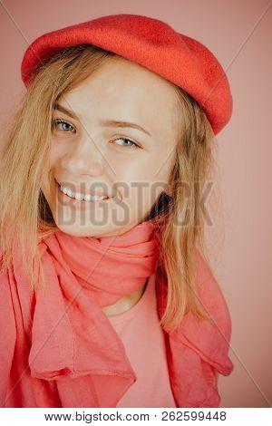 Dress Like A French Girl. Happy Girl In Trendy Wear. Chic French Girl Happy Smiling. French Girl Sty
