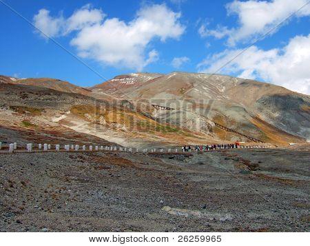 high mountain road to legendary North Korea Paktusan mountain