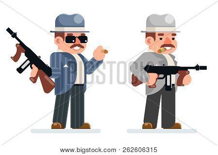 Gangster dangerous retro criminal submachine gun thug prohibition mafia character icon flat design vector illustration poster
