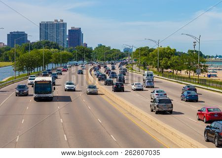 Chicago, Illinois - July 10. 2018 - View Of The North Lake Shore Drive With Cars Traveling Along The