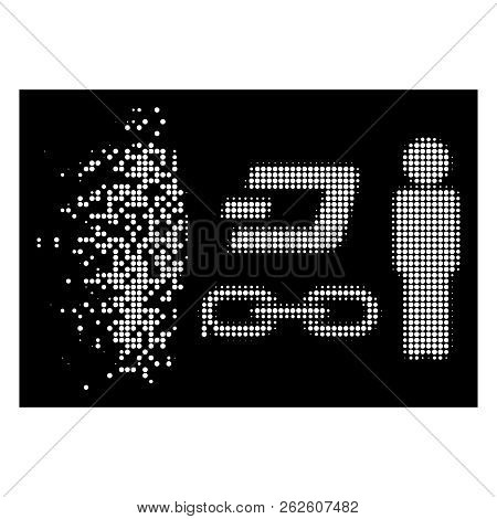 People Dash Blockchain Icon With Disintegrated Effect On Black Background. White Circle Dots Are Com