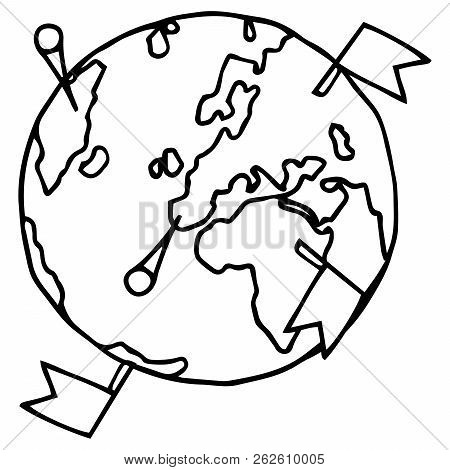 Globe Icon. Vector Illustration Of A Globe, Earth, Planet. Hand Drawn Globe.