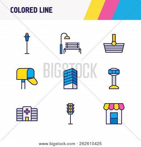 Vector Illustration Of 9 Public Icons Colored Line. Editable Set Of Storefront, Hospital, Park And O