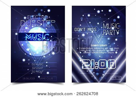 Electro Sound Party Music Poster. Electronic Club Deep Music. Musical Event Disco Trance Sound. Nigh