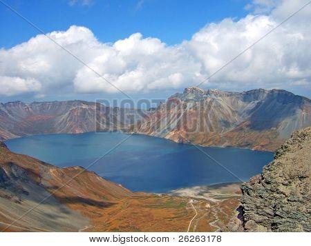 vulcanic lake on the top of famous North Korea Paktusan mountain poster
