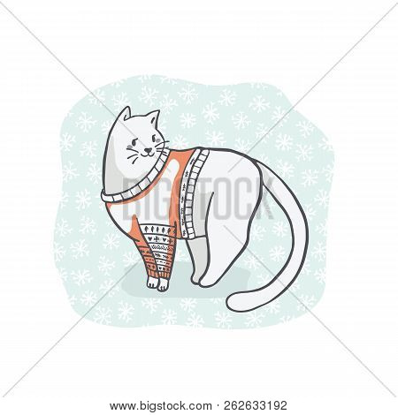Christmas Cat In Embroidery Sweater Clipart, Hand Drawn Cat Lover