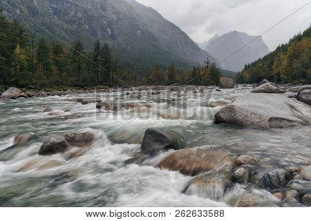 River Middle Sakukan In Kodar Mountains In Siberia, Transbaikalia