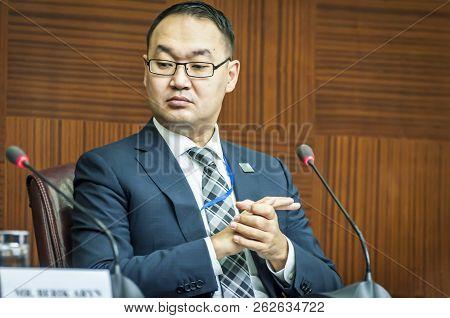 Astana, Kazakhstan. October 11, 2018. Yerzhan Ashikbayev, The Kazakh Politician, Deputy Foreign Mini