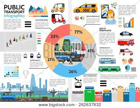 Flat Public Transport Infographic Concept With Circle Diagram Taxi Tuk Tuk Urban Traffic Bus Trolley