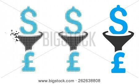 Dollar Pound Conversion Filter Icon In Dissipating, Dotted Halftone And Undamaged Entire Variants. F