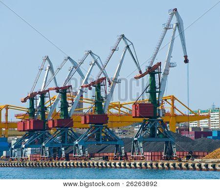 cranes at coal terminal at russian port Vladivostok