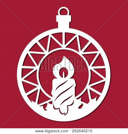 Christmas Ball With A Candle. Template For Christmas Cards, Invitations For Christmas Party. Image S