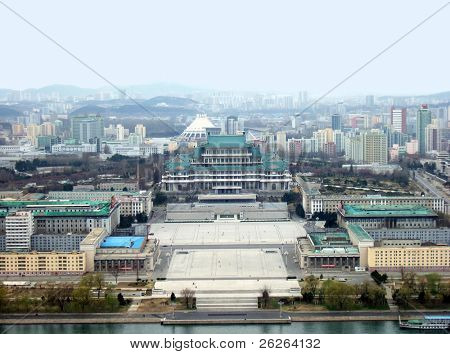 view of the Pyongyang - capital of the North Korea poster