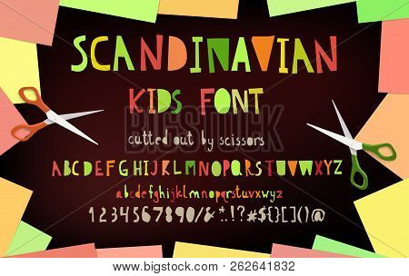 Cut Out Paper Scandinavian Alphabet Font, Frame With Blank Color Yellow Green Red Note Paper Corners