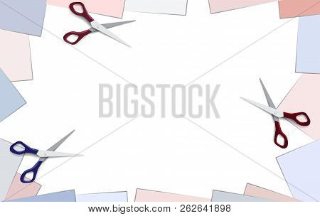 Empty Place Background With White Blue And Red Pink Paper And Frame With Blank Note Paper Cornersand