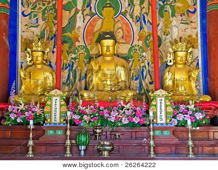 buddhist altar of the Buddhist Sinheungsa Temple in Seoraksan National Park, South korea