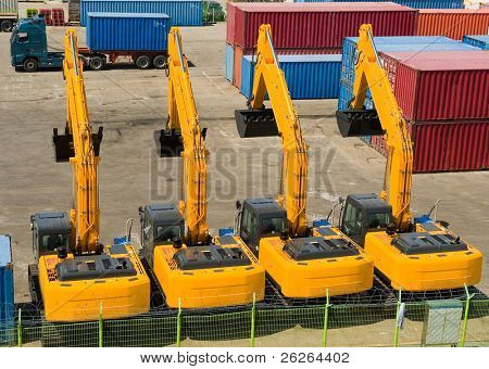 excavators import export in the korean  port Sokcho
