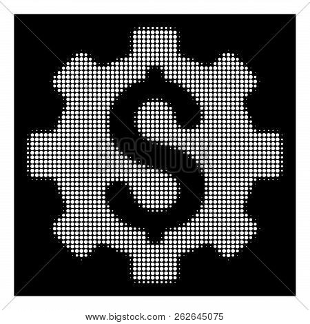 Halftone Pixel Development Cost Icon. White Pictogram With Pixel Geometric Pattern On A Black Backgr