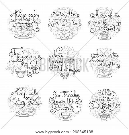 Teatime. Set Of Hand Drawn Typography Lettering. Circle Shape. Vector Illustration Isolated On White